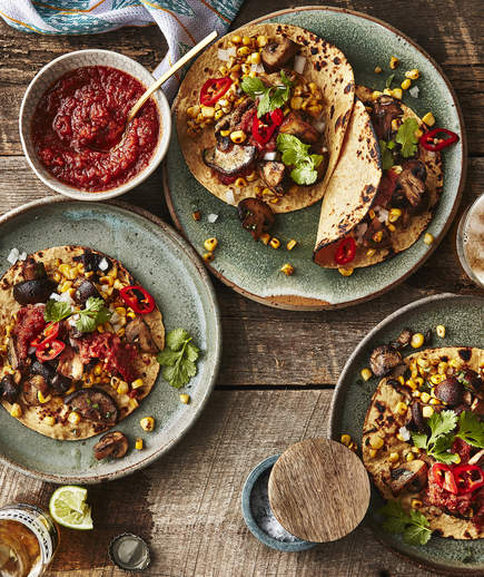 Mushroom and Corn Tacos | Real Simple
